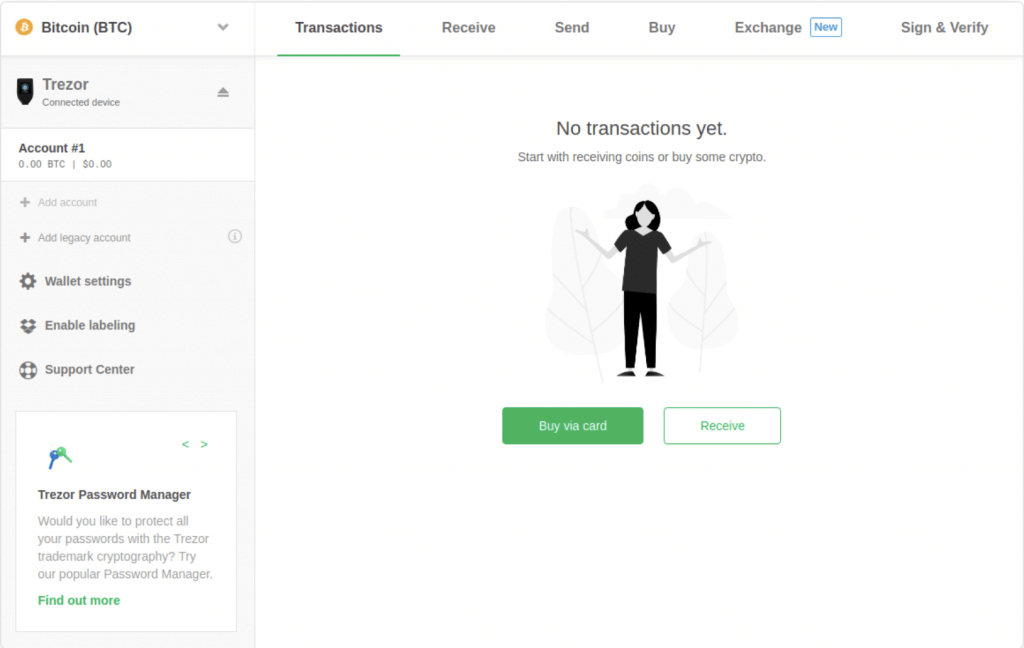 Cryptocurrency wallet - TREZOR interface